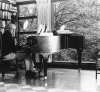Aaron Copland at the piano