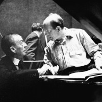 Rachmaninov and conductor Eugene Ormandy during a rehearsal at the Academy of Music in 1938. (from the Philadelphia Orchestra's website).