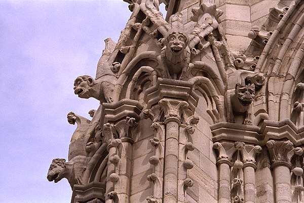 Gargoyles on the facade of Notre Dame Cathedral in Paris.