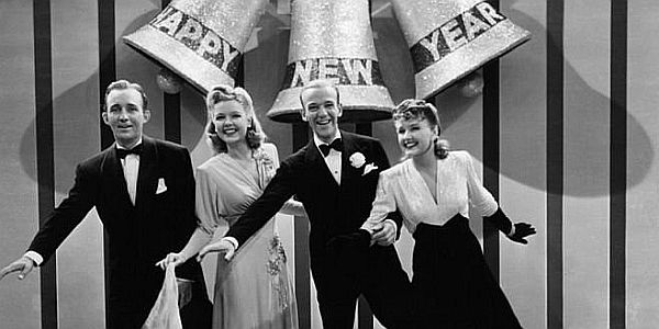 Bing Crosby, Virginia Dale, Fred Astaire, and Marjorie Reynolds in the 1942 film, Holiday Inn.