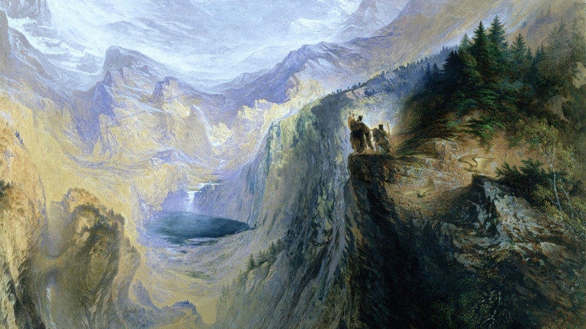 """""""Manfred On The Jungfrau,"""" watercolor by John Martin (1837)"""