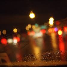 rainy night traffic