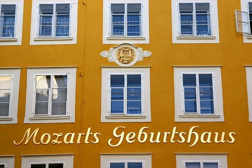 The house in Salzburg where Mozart was born on January 27, 1756.