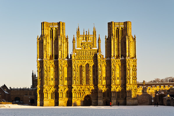 The facade of Wells Cathedral, Somerset, England.